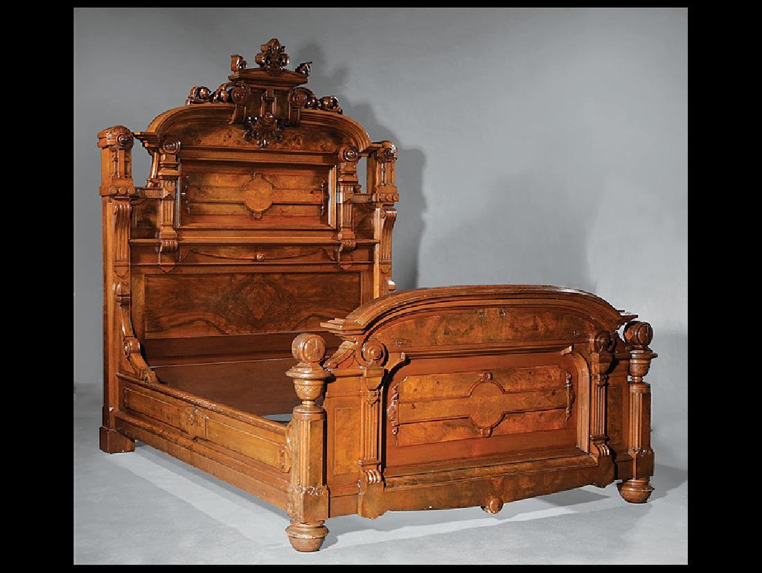 Carved, Burled, Inlaid Walnut Bedroom Suite