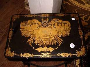 An Antique English Black Lacquered Chi