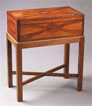 An Antique Inlaid Mahogany Lap Desk-on