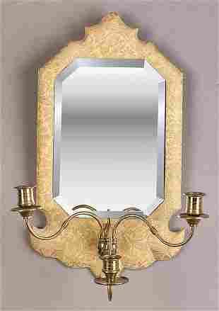 An Antique Three-Light Mirrored Wall S