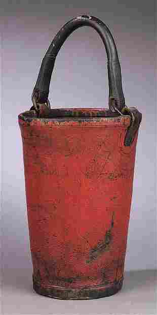 An Antique American Red-Painted Canvas