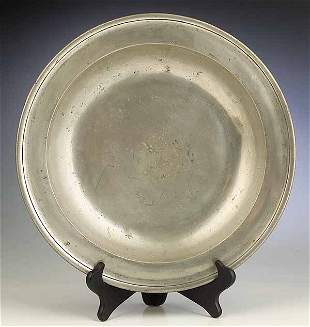 A Large Antique English Pewter Dish