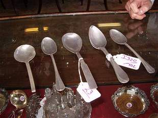 A Group of Six 18th c. Pewter Spoons,