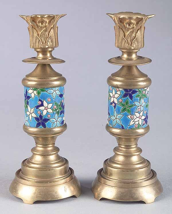0001: Pair French Longwy Enamel and Brass Candlesticks