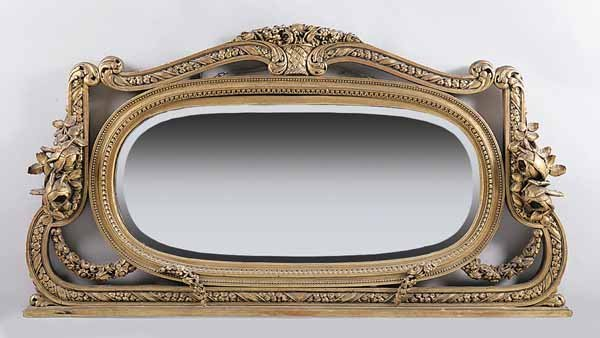 0018: Belle Epoque Carved Giltwood Overmantel Mirror