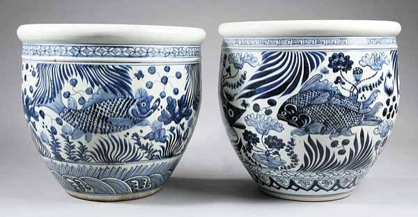 0021: Pair Asian Blue-and-White Earthenware Fish Bowls