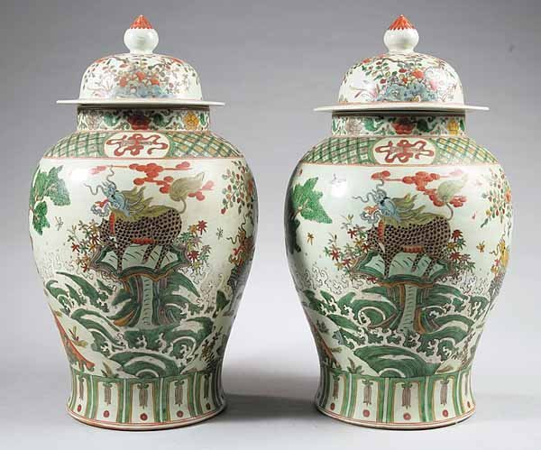 0022: Chinese Famille Verte Porcelain Jars with Covers