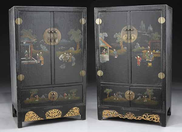 0023: Pair of Chinese Black Lacquered Cabinets