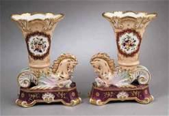 0391 Fine Pair of Paris Porcelain Cornucopia Vases