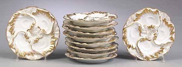 652: Set of Ten Limoges Porcelain Oyster Plates