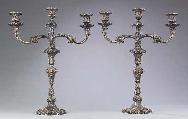 654: Pair of Silverplate Three-Light Candelabra