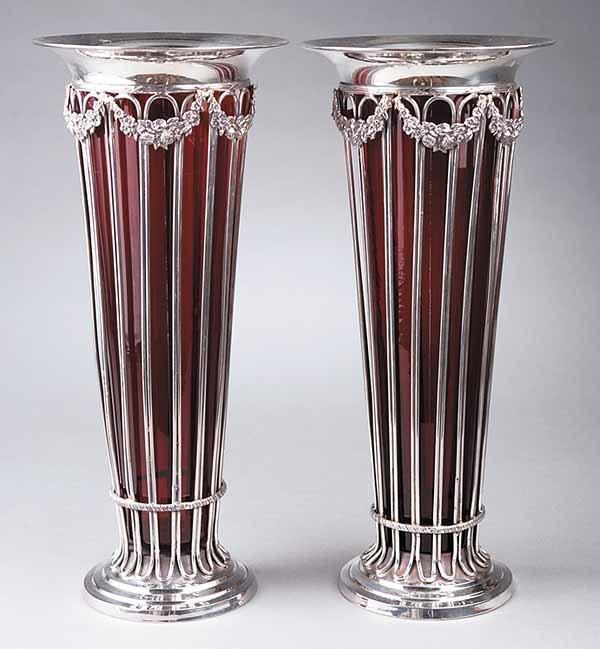 655: Pair of Adam-Style Silverplate Trumpet Vases