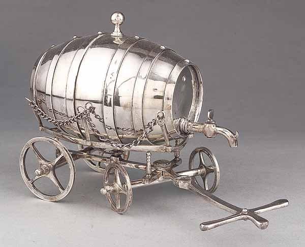 656: Silverplate Wine Barrel Table Trolley