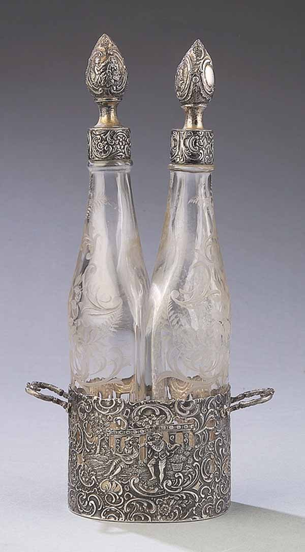 658: Antique Silver and Enrgraved Glass Decanter Set