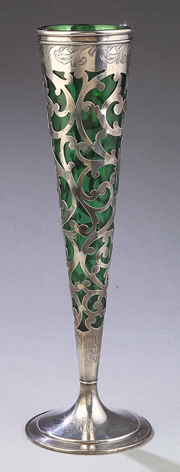 660: Art Nouveau Sterling Silver, Glass Tall Vase