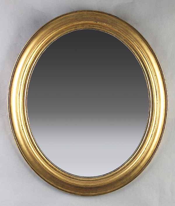 663: Small Antique Oval Gilt Mirror