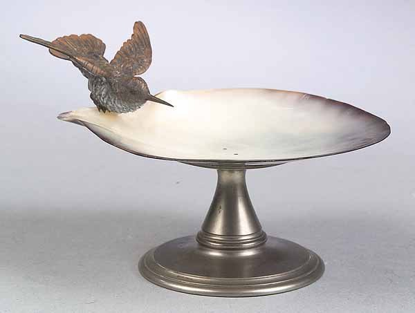 667: Abalone Shell and Bronze-Mounted Compote