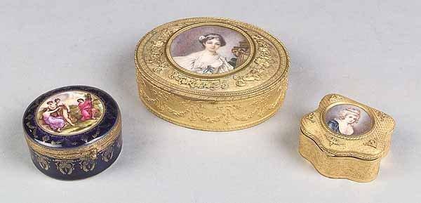 668: French Porcelain, Gilt Bronze Toilette Boxes
