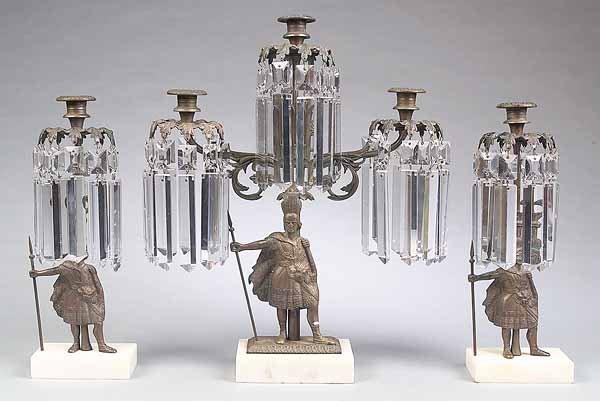 673: Gilded Brass Three-Piece Girandolen Suite