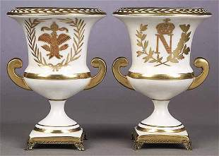 A Pair of Porcelain Campana Vases in t