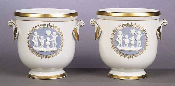 1066: A Pair of Regency-Style Porcelain Jard