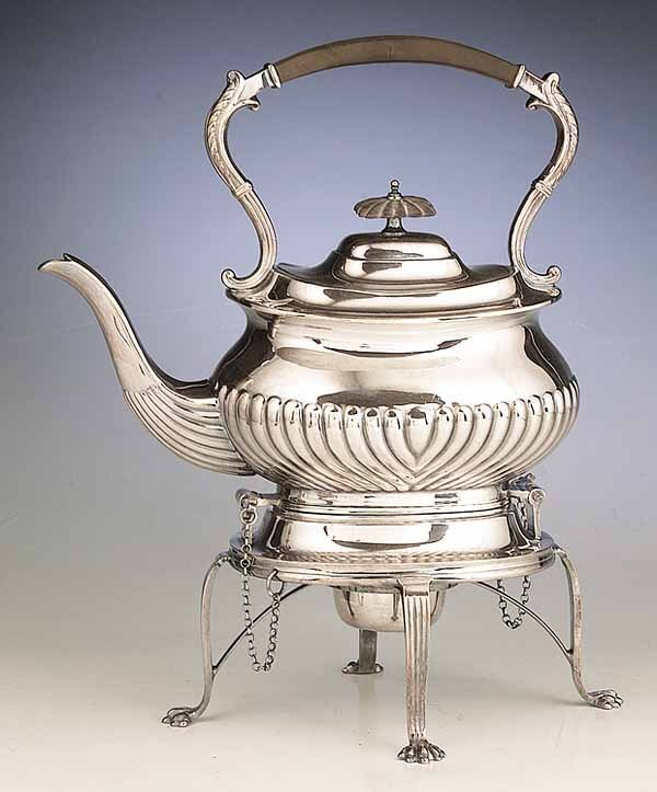 1068: A Victorian Silverplate Kettle-On-Stan
