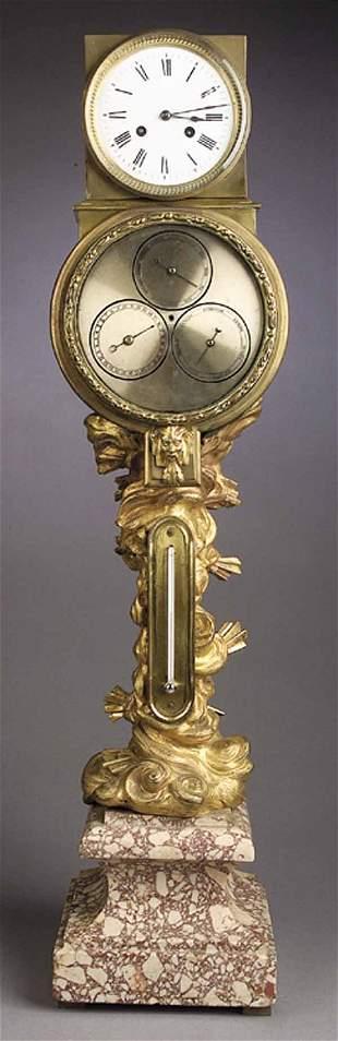 A Louis XV-Style Gilt Bronze Clock