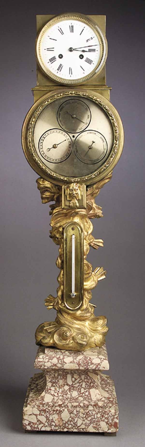 1075: A Louis XV-Style Gilt Bronze Clock
