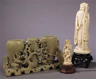A Group of Ivory Figural Carvings