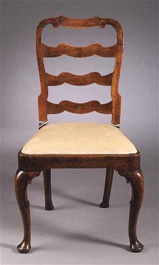 A Queen Anne Walnut Ladder-Back Sidech