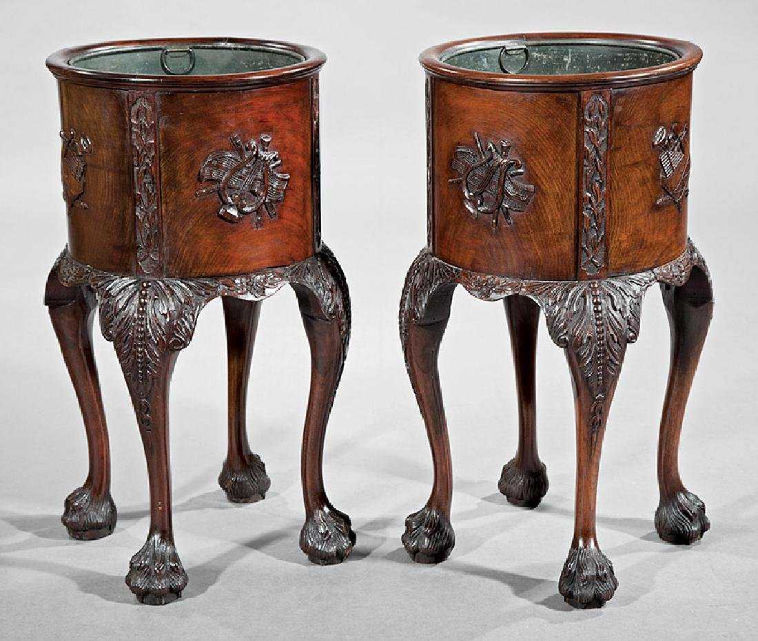 Pair of Georgian Carved Mahogany Jardinieres