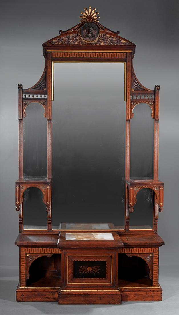 Carved, Burled, Inlaid and Gilted Walnut Etagere