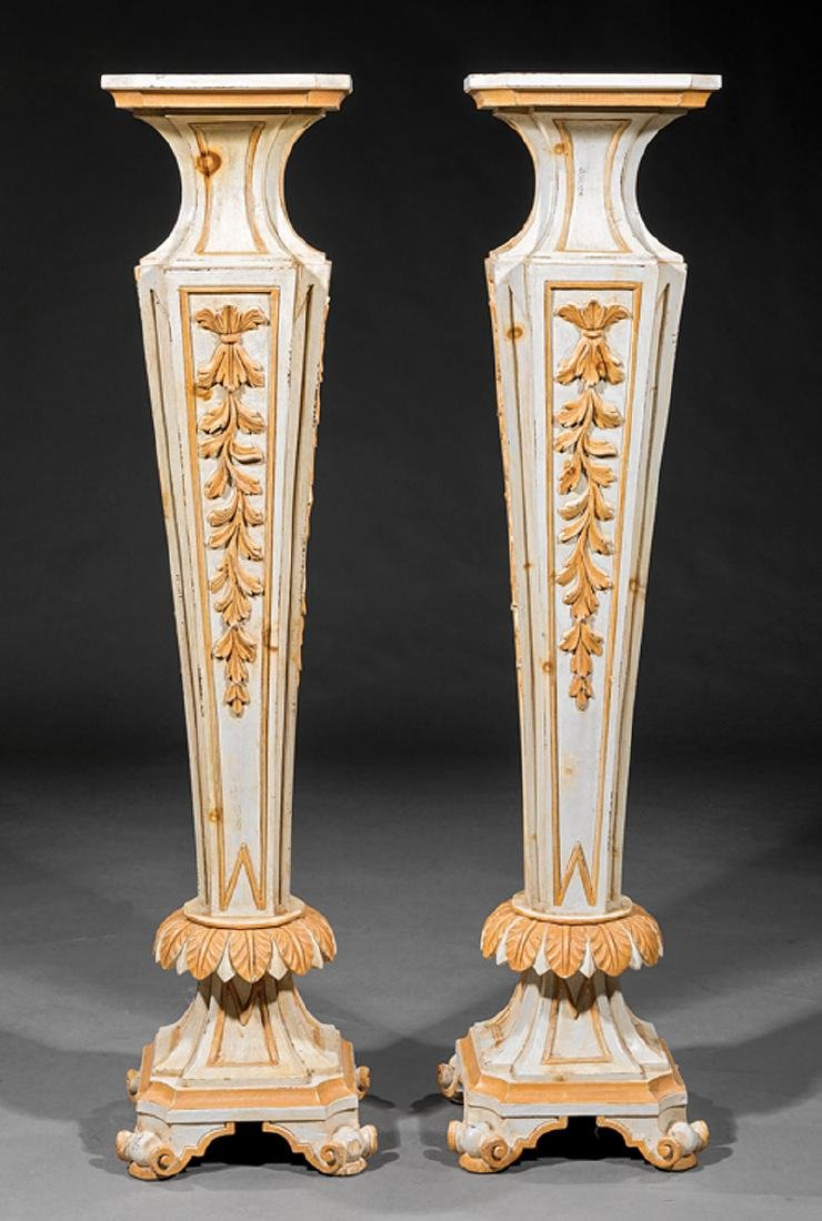 Pair of Venetian Creme Peinte and Gilt Pedestals