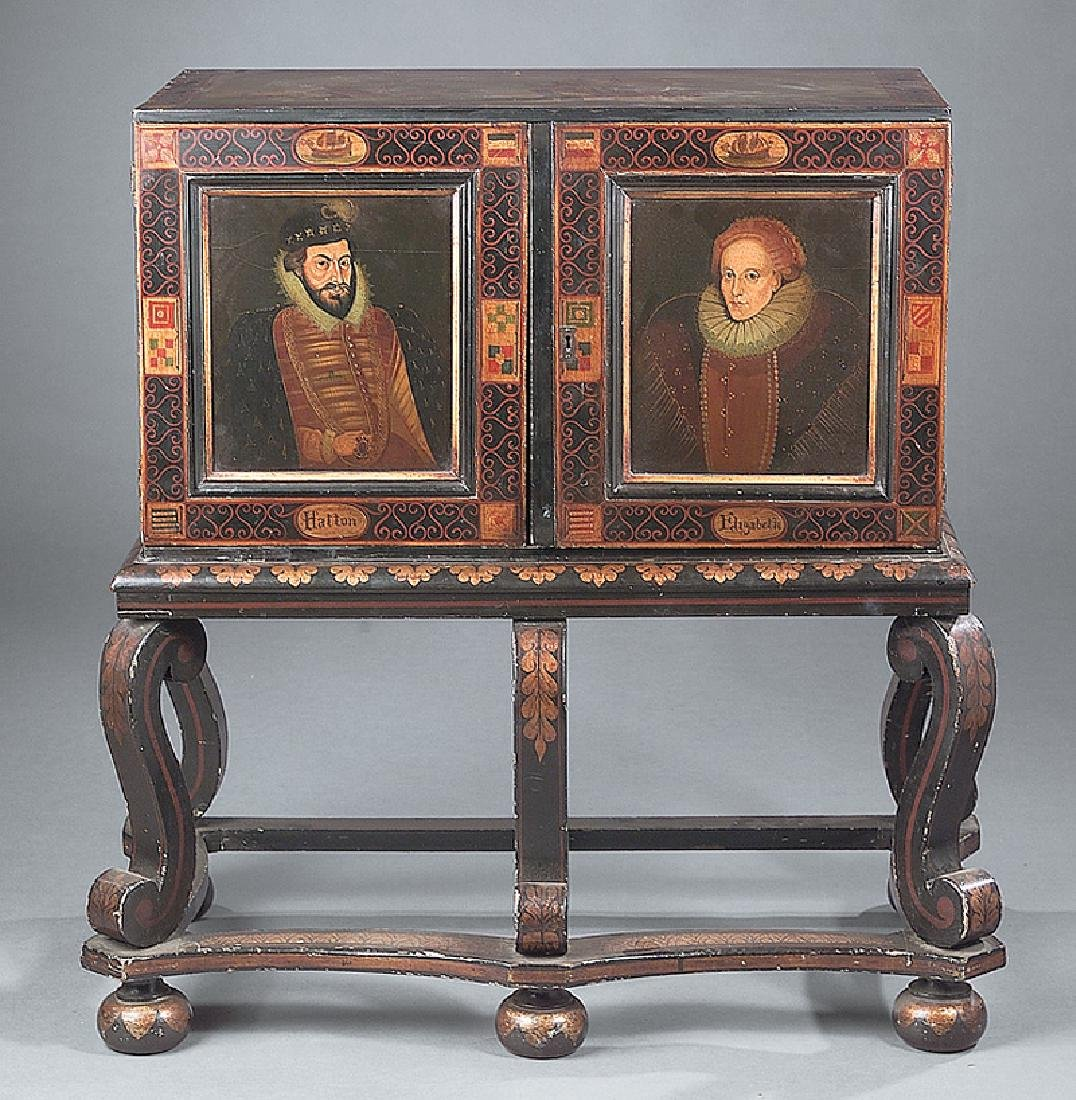 17th c. Style Painted Cabinet on Stand