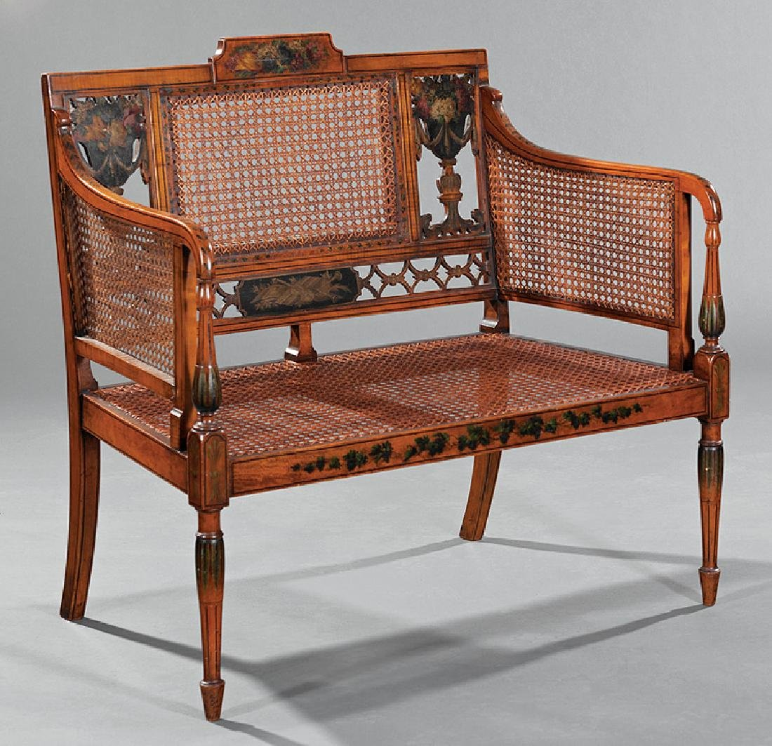 English Paint-Decorated Satinwood Settee - 2