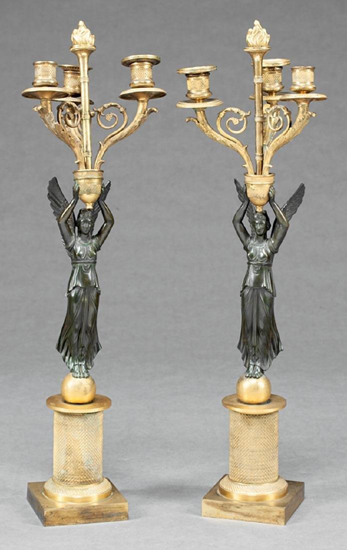 Gilt and Patinated Bronze Figural Candelabra
