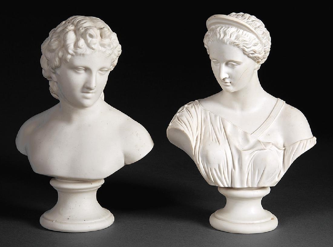 Parian Busts of Apollo and Diana