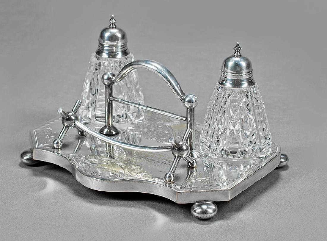 Silverplate and Cut Crystal Presentation Encrier