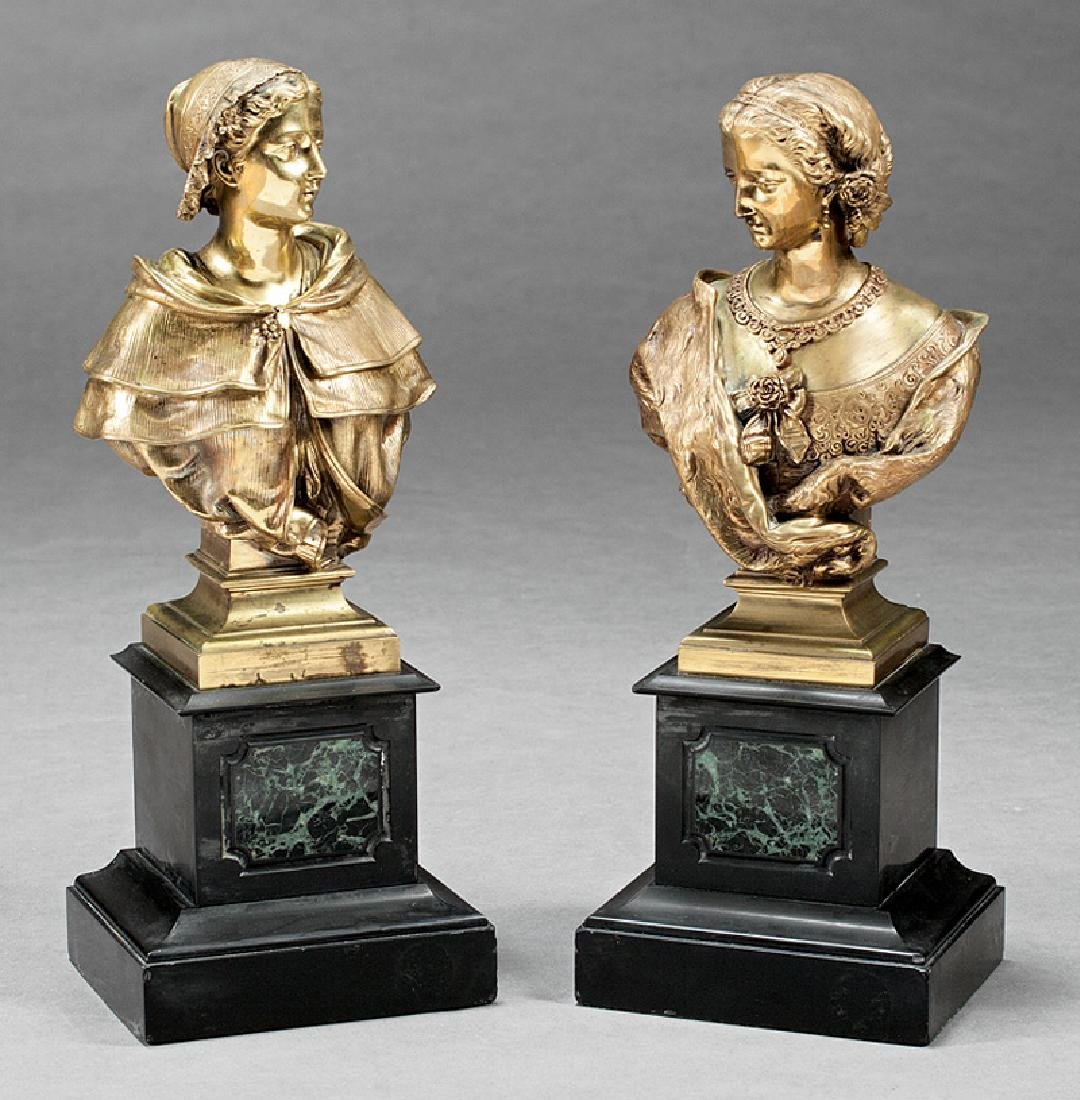 Pair of French Bronze Busts of Maidens