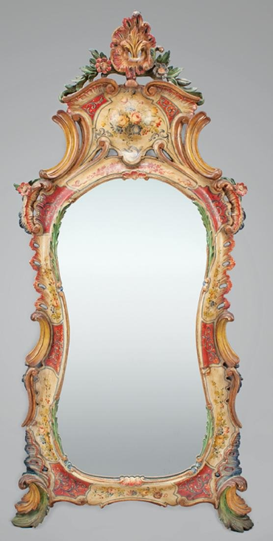 Venetian Polychrome Paint-Decorated Mirror