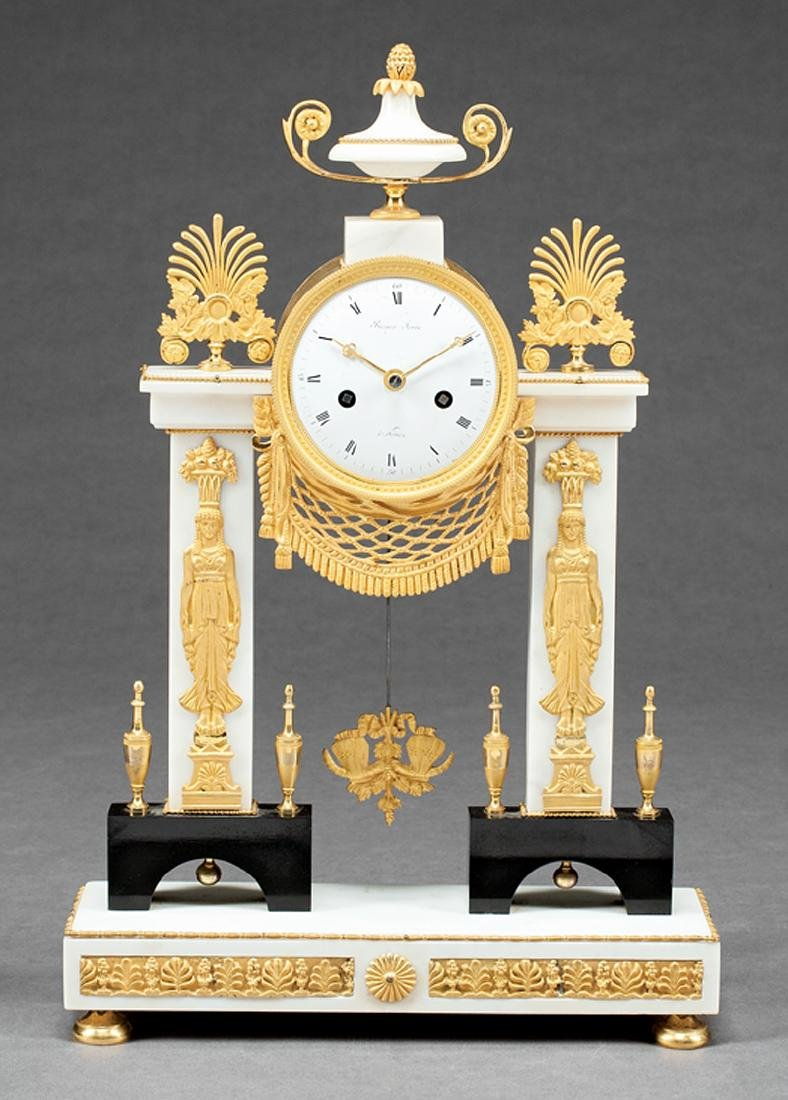 Gilt Bronze-Mounted Marble Mantel Clock