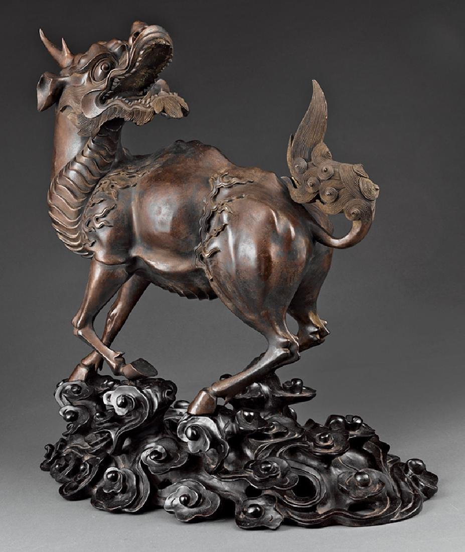 Chinese Patinated Bronze Figure of a Qilin - 2