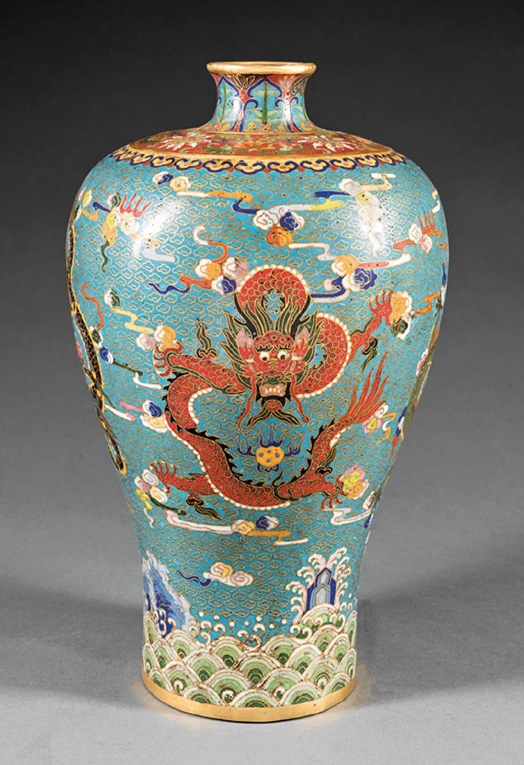 Chinese Cloisonne Enamel Meiping Vase