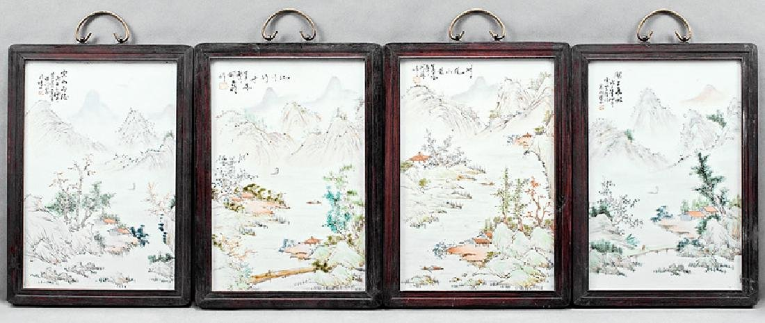 Chinese Famille Rose Porcelain Plaques
