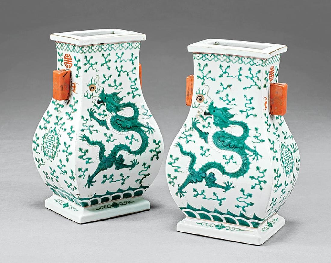 Pair of Chinese Polychrome Porcelain Hu Vases