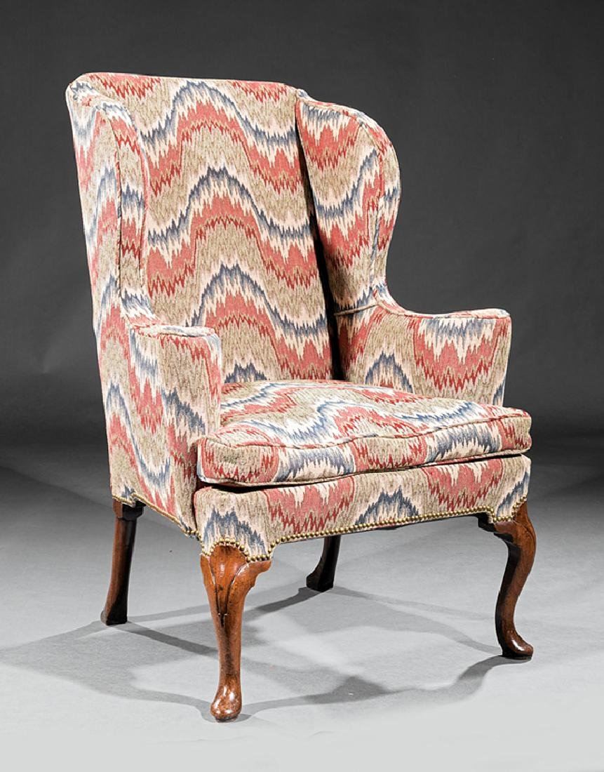 George III Walnut Wing Chair
