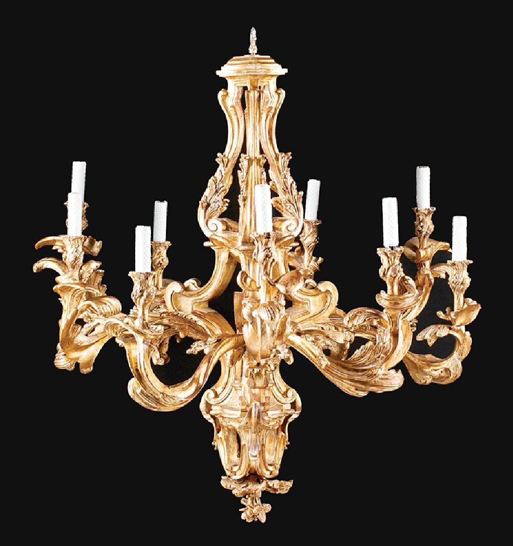Louis XV-Style Carved and Gilt Chandelier