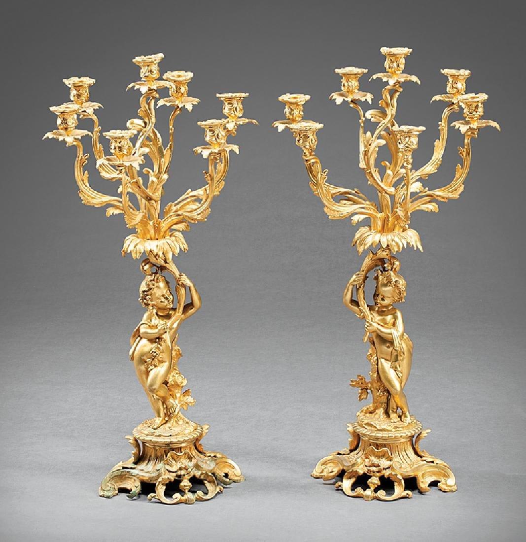 Louis XV-Style Gilt Bronze Figural Candelabra