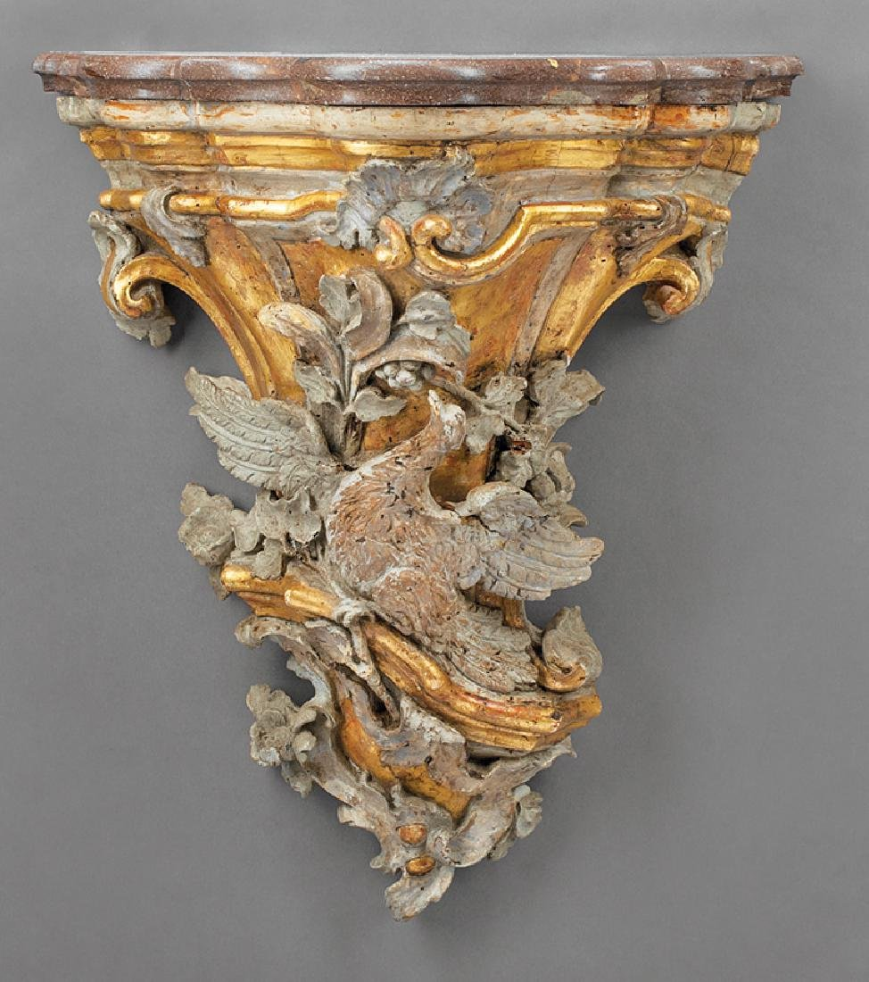 Italian Carved, Painted and Parcel Gilt Bracket