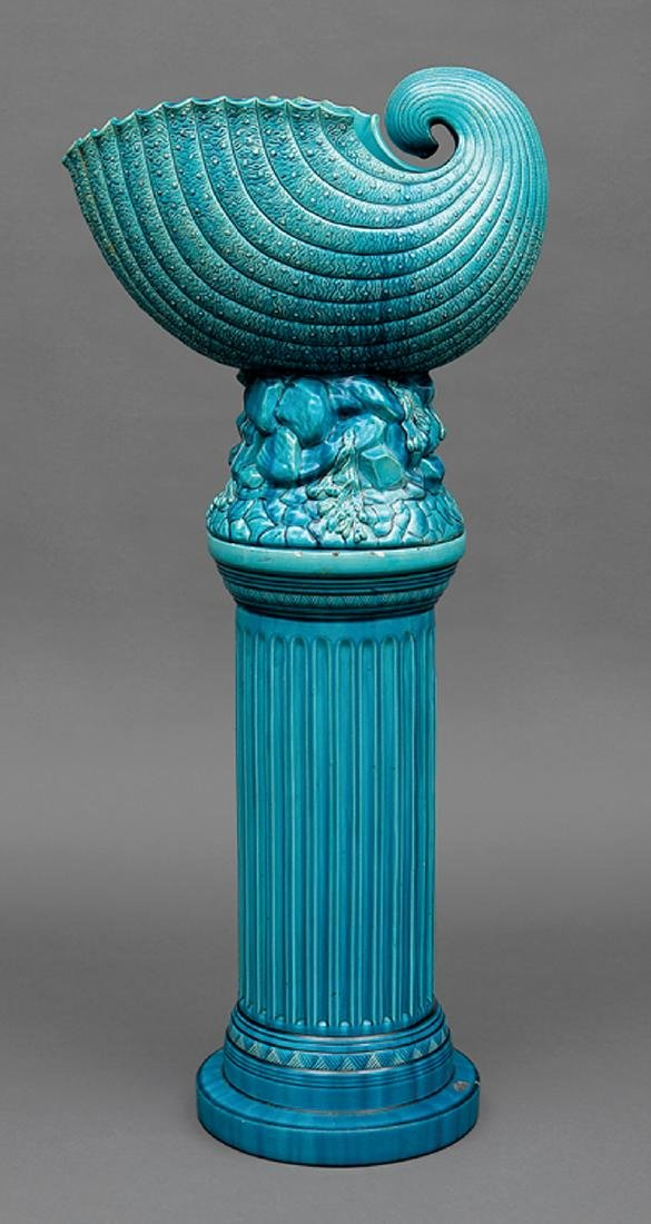 Burmantofts Blue Faience Jardiniere and Stand